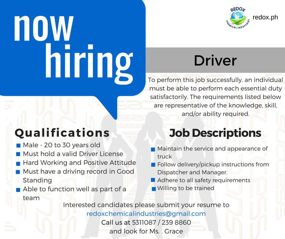 Driver Philippines  Job Qualifications