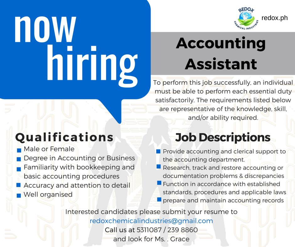 Accounting assistant job openings philippines