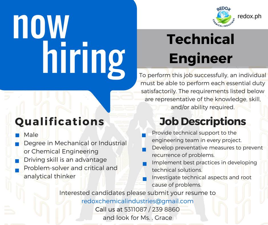 technical engineer job opening philippines